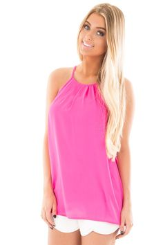 Lime Lush Boutique - Hot Pink Chiffon Halter Tank with Pleated Neck, $14.95 (https://www.limelush.com/hot-pink-chiffon-halter-tank-with-pleated-neck/)