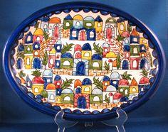 Fakhoury Pottery of Jerusalem  Platter (Oval 30cm)  COLOR: VILLAGE   SIZE: LARGE
