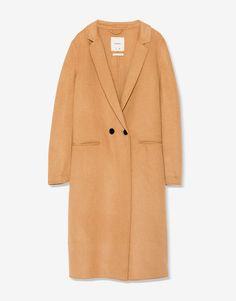 Abrigo largo maculino doble botón - Abrigos y cazadoras - Ropa - Mujer - PULL&BEAR España