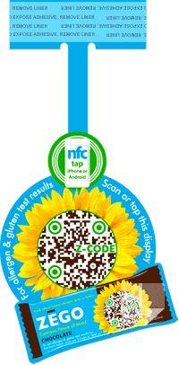 Zego Snacks custom die cut shelf wobbler by Dilco with NFC chip