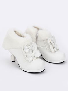 1dd3a462bb8 White Lolita Chunky Heels Shoes Platofrm Ankle Strap Bows Decor ...