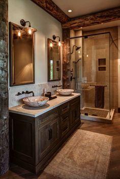 Dreamy Utah mountain retreat boasting rustic yet elegant atmosphere – rustic home interior Rustic Bathroom Designs, Rustic Bathroom Decor, Rustic Bathrooms, Bathroom Interior, Log Cabin Bathrooms, Bathroom Ideas, Utah, Ideas Baños, Decor Ideas
