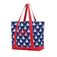 Monogrammed Sail Away Tote Bag with Red Thread and Classic Font