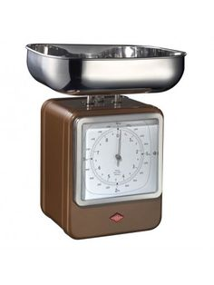 #Modern home accessories - #Wesco Retro Scales With Clock - Chocolate Brown | online #Homeware Boutique