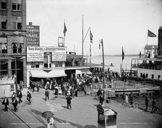 vintage photo of Ferry Dock...Boblo Island, Detroit, MI   use to love to ride the ferry boat across to the island ....Went with my Uncled Ed  and also a few times with my parents and gandparents.
