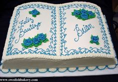 Bible Cake with Buttercream Frosting and Flowers