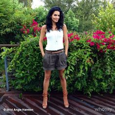 Angie Harmon:Almost forgot! #outfitoftheday  @hm white mesh tank, @BALENCIAGA shoe booties & #Organic high waisted shorts