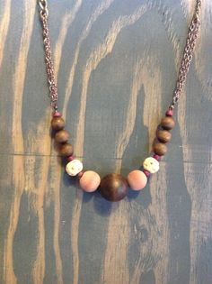 Beaded pink and brown necklace by nidification on Etsy