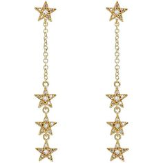 Jennifer Meyer Women's Star Long-Drop Earrings (195.135 RUB) ❤ liked on Polyvore featuring jewelry, earrings, no color, long post earrings, pave drop earrings, post earrings, post back earrings and star drop earrings