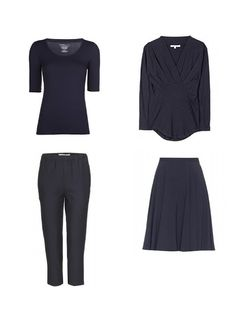 Packing with Four by Four: Navy, Tan and Coral | The Vivienne Files start with 4 dark neutral pieces - 2 tops, 2 bottoms