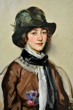 ▴ Artistic Accessories ▴ clothes, jewelry, hats in art - Portrait of Lynn Fontanne, 1912, Wilfred de Glehn (English 1870-1951)