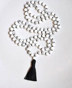 White Howlite Black Silk Designer Mala Necklace
