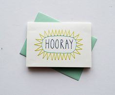 Embroider a greeting card & incorporate photographs! HOORAY  Hand Stitched Note Card with Envelope by SarahKBenning, $7.00