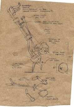 Sketch of a mechanism for a walking puppet with articulated legs.