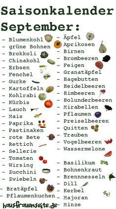 Saisonkalender für den Monat September Lebensmittel, Gemüse, Obst, Kräuter, die…
