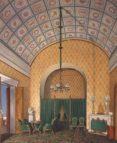 Interiors of the Winter Palace. The Second Reserved Apartment. A Bedroom - Edward Petrovich Hau - Drawings, Prints and Painting from Hermitage Museum
