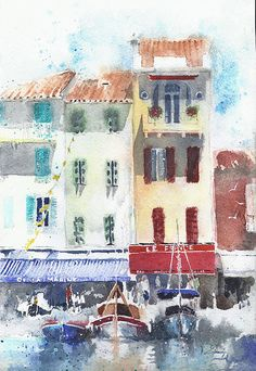 Original painting watercolor France Cassis 7.5x11  by YuliaShe
