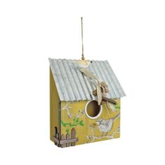 Hanging Yellow Wooden Bird House with Corrugated Metal Roof & Bird Detail Garden Ornaments & Accessories #gardening #nature www.gardens2you.co.uk