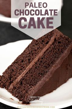 A moist and tender Paleo chocolate cake that's rich in chocolate flavor, but not too sweet. Layer it with a deep chocolate frosting, and let's celebrate! Best Gluten Free Desserts, Gluten Free Cakes, Gluten Free Baking, Delicious Desserts, Paleo Chocolate Cake, Decadent Chocolate Cake, Chocolate Frosting, Banana Recipes, Cake Recipes