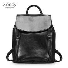 48.90$  Watch now - http://ali1r6.shopchina.info/go.php?t=32705866309 - ZENCY Backpack Bags Famous Brands Oil Wax Leather Women Backpacks Girl Female Genuine Leather Backpack Cowhide Bag  #buyonline
