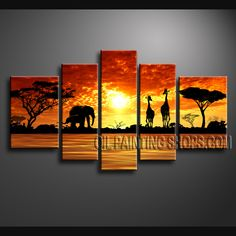 Stunning Contemporary Wall Art Oil Painting On Canvas For Living Room Africa Landscape. This 5 panels canvas wall art is hand painted by Bo Yi Art Studio, instock - $168. To see more, visit OilPaintingShops.com