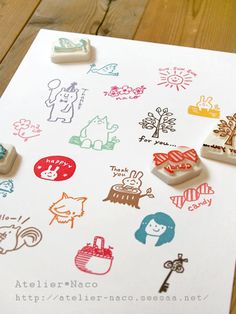 ♥ Rubber Stamp by atelier-naco Fabric Stamping, Stamping Up, Make Your Own Stamp, Eraser Stamp, Kids Stamps, Diy And Crafts, Paper Crafts, Stamp Carving, Handmade Stamps