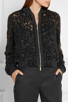Elie Saab | Embellished tulle bomber jacket | NET-A-PORTER.COM