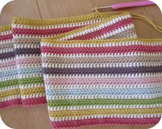 simply rows of half trebles which is my absolute favourite crochet stitch.  It's less holey than trebles but more fluid than doubles.
