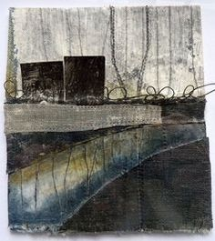 Debbie+Lyddon-+Small+Marshscape-Black+Loops+and+Metal+Posts,+Cloth,+Stitch+and+Wax