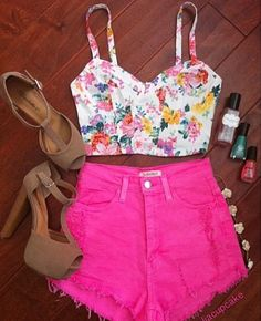 Floral crop top and hot pink cut off shorts