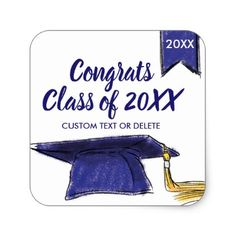 Graduation Class of 2018 Blue Grad Cap Custom Square Sticker - craft supplies diy custom design supply special