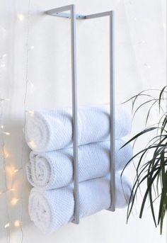 Towel Holder Bathroom, Bathroom Towels, Bath Towel Storage, Bathroom Hacks, Bathroom Stuff, Bathroom Closet, Guest Bathrooms, Remodel Bathroom, Washroom
