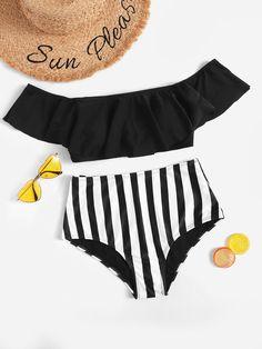 Shop Bardot Flounce Top With Striped High Waist Bikini online. ROMWE offers Bardot Flounce Top With Striped High Waist Bikini & more to fit your fashionable needs.Off the Shoulder Ruffle Random Striped Bikini Set Source by cuteshoppFora do ombro Ruff Bikini Sets, Bikini Swimwear, Romwe Swimwear, Cute Bathing Suits, Cute Swimsuits, Striped Bikini, Beachwear For Women, Bikini Photos, Cowgirl Outfits