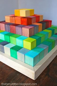 """That's My Letter: """"B"""" is for Building Blocks - how to dye wood with food coloring"""
