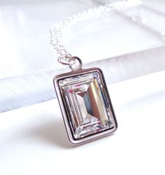 Clear Crystal Emerald Cut Necklace  Bridal by LoveYourBling, $26.00