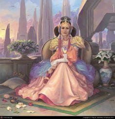 Padme Skywalker on Coruscant Amidala Star Wars, Star Wars Padme, Queen Amidala, Anakin Obi Wan, Anakin And Padme, Star Wars Concept Art, Star Wars Fan Art, Pixar, Motif Art Deco