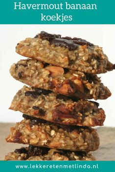 These oatmeal banana cookies have 2 basic ingredients. The oatmeal banana cookies are simple, easy to make and also sugar-free. Quick Healthy Meals, Healthy Cake, Super Healthy Recipes, Healthy Sweets, Healthy Baking, Clean Recipes, Healthy Snacks, Vegetarian Recipes, Banana Oatmeal Cookies