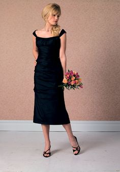 2b00d32973a7 Tempting Off The Shoulder Dark Navy Empire Waist Tea Length Pleated Dress