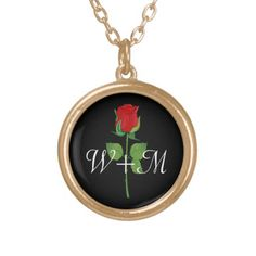 Personalized Initials Red Rose Love Valentines Day Boyfriend/Girlfriend Pendant Necklace