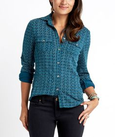 Look at this Carve Designs Tahoe Aquarium Napa Button-Up on #zulily today!