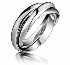 MoAndy Jewelry Stainless Steel White Men's/Women's Wedding Rings