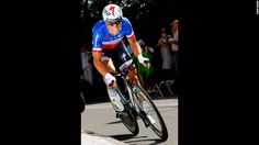 Sylvain Chavanel of France riding for Omega-Pharma-Quickstep races to fifth place in the individual time trials.
