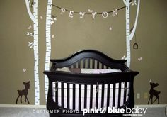 Birch Trees with two fawns Nursery Kids Wall by pinknbluebaby, $85.00
