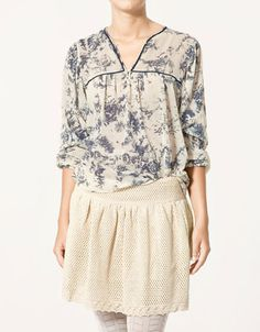 PRINTED SHIRT, BLUE PIPING $79.90