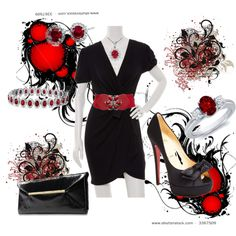 red and black, created by cristina1207 on Polyvore