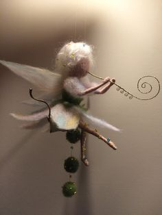 Needle felted Fairy Waldorf inspired Wool Music by DreamsLab3