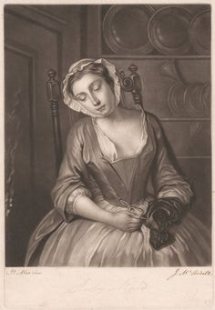 James McArdell, ca. 1729-1765, Sleepy Maid, 1756, Mezzotint, Yale Center for British Art, Paul Mellon Fund