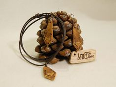 """Wooden earrings & necklace """"My tie, my suit"""" by balintARTline on Etsy Wooden Earrings, Wooden Jewelry, Unique Jewelry, Suit, Trending Outfits, Bracelets, Handmade Gifts, Leather, Accessories"""