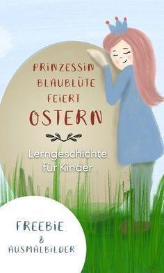 """Warum feiern wir Ostern? Und was hat es mit dem Osterhasen und den bunten Eiern auf sich? Eine Lerngeschichte für Kinder in Kita, Kindergarten, Vorschule und Grundschule inkl. 2 Ausmalbildern als Druckvorlage. Zum kostenlosen Download als eBook zum vorlesen und ausmalen zum Osterfest. Freebie und Printable von """"Hallo liebe Wolke"""". #kindergarten #lernen #ideen #ostern #malvorlage"""