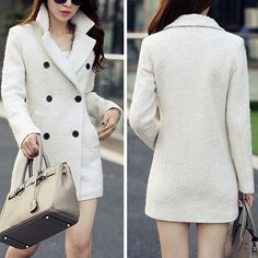 Fashion Solid Color Double-breasted Slim Fit Woolen Coat